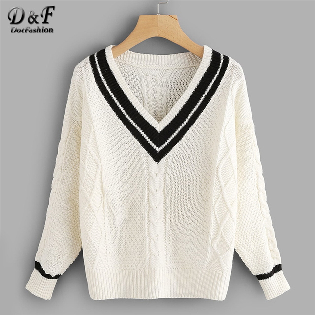 3c7412f0f Dotfashion White V Neckline Striped Trim Knit Sweater Women Casual Spring  Autumn Clothing Sweaters Fashion 2019 Womens Pullovers