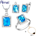 Almei Sapphire Jewelry Sets Blue for Womens Necklace Earring Set 925 Silver Square Rhinestone CZ Diamond Engagement Ring T008