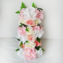 Artificial Flowers Hydrangea Peony Rose Silk Flower Wall Wedding Road Lead Arch Square Decorative wall garland