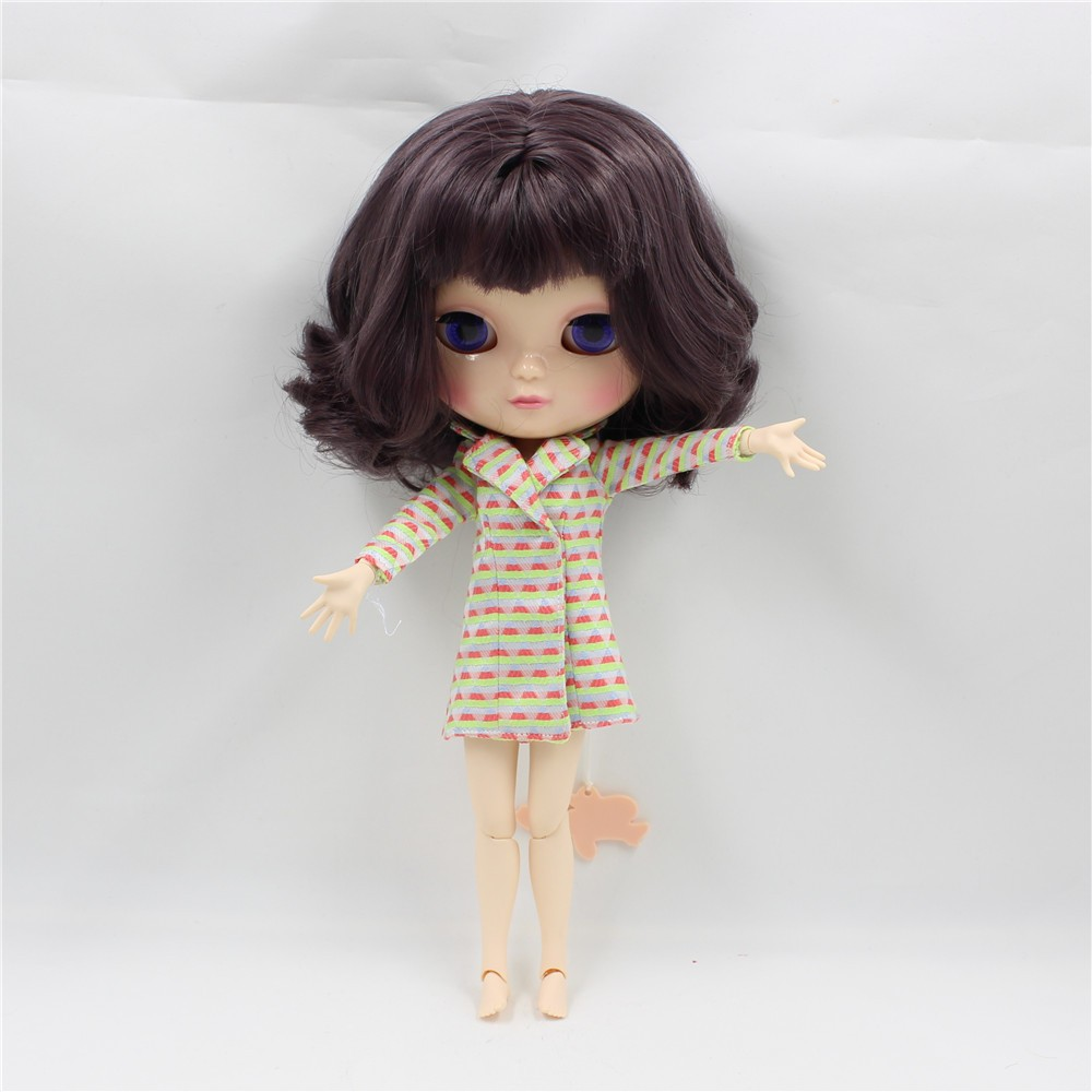 Neo Blythe Doll with Brown Hair, White Skin, Shiny Face & Jointed Azone Body 3