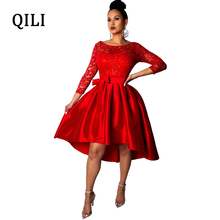 QILI Women Party Dress Lace Patchwork O neck Wrist Sleeve Bow Dresses White Red Elegant Lady Fit And Flare 2019 Spring