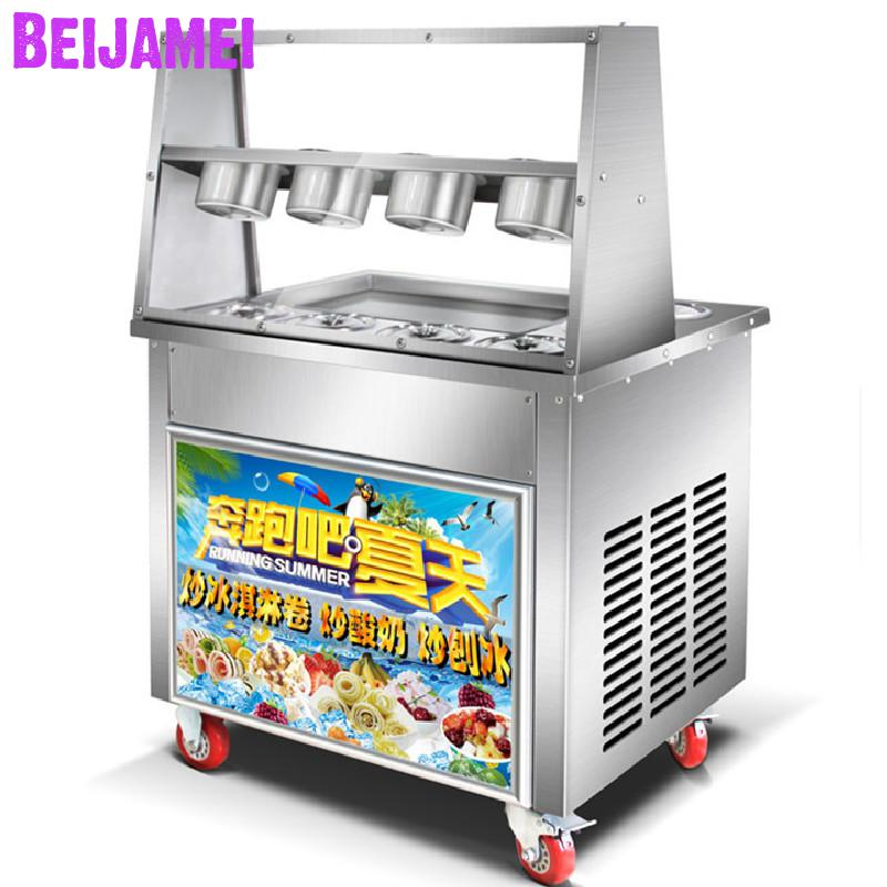 BEIJAMEI Popular stainless steel Thai ice cream rolls making commercial fried ice yogurt machine big square panBEIJAMEI Popular stainless steel Thai ice cream rolls making commercial fried ice yogurt machine big square pan