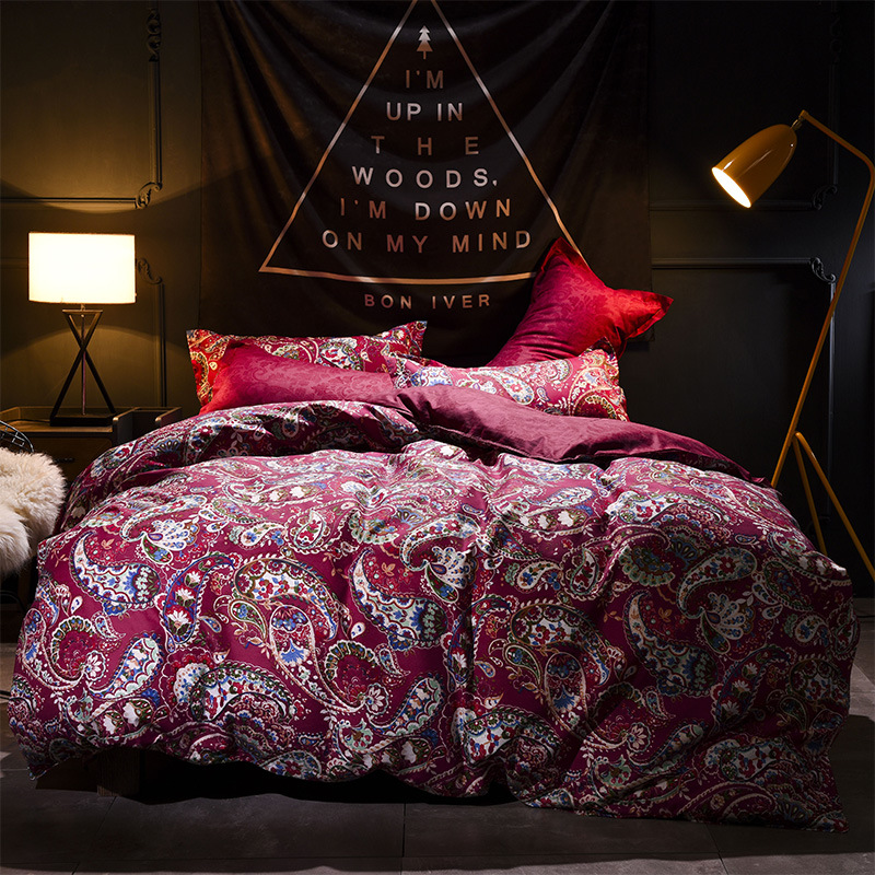 High Quality Purple Pastoral Flowers Style 3/4pcs Bedding Set Cotton Bed Cover Sets Bed Linen Bedclothes Wedding Decoration AB