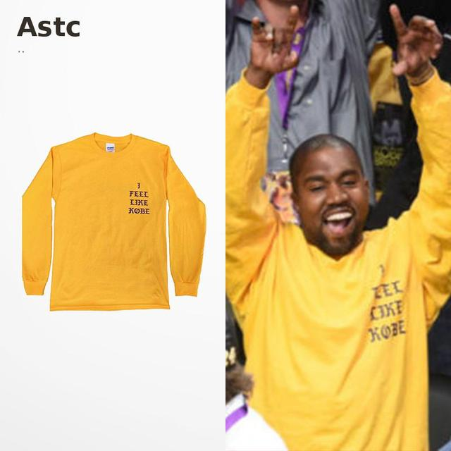 Yezzy Camiseta T-shirt Dos Homens Kanye West Yeezy Yeezus Eu Sinto como Drake Kebo Imprimir Manga Comprida Camiseta Hip Hop de Alta Qualidade Vetement