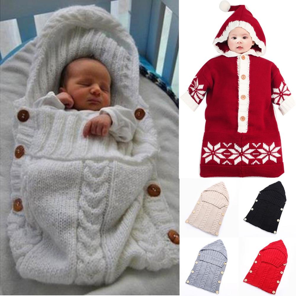 Baby Inbakeren Wrap Warm Wol Haak Gebreide Pasgeboren Baby Slaapzak