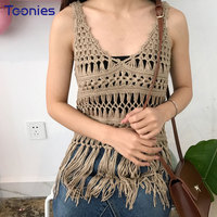 2018 New Summer Women S Hooks Tank Tops Sexy Loose Solid Weaving Hollow Out Vest V