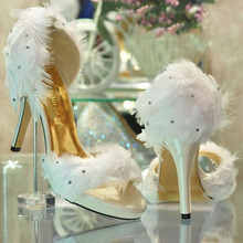 Fashion Ladies White Satin Feather Wedding Bridesmaid Party Prom Dress Heels Shoes evening party dress shoes Summer Sandals