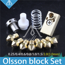 3D printer Upgrade Ultimaker 2 + UM2 Extended+ Olsson block nozzle hotend kit for 1.75/3mm filament  Heaterblock 3d printer part olsson block nozzle pack complete hotend jennyprinter ultimaker 2 um2 extended 1 75mm fast delivery