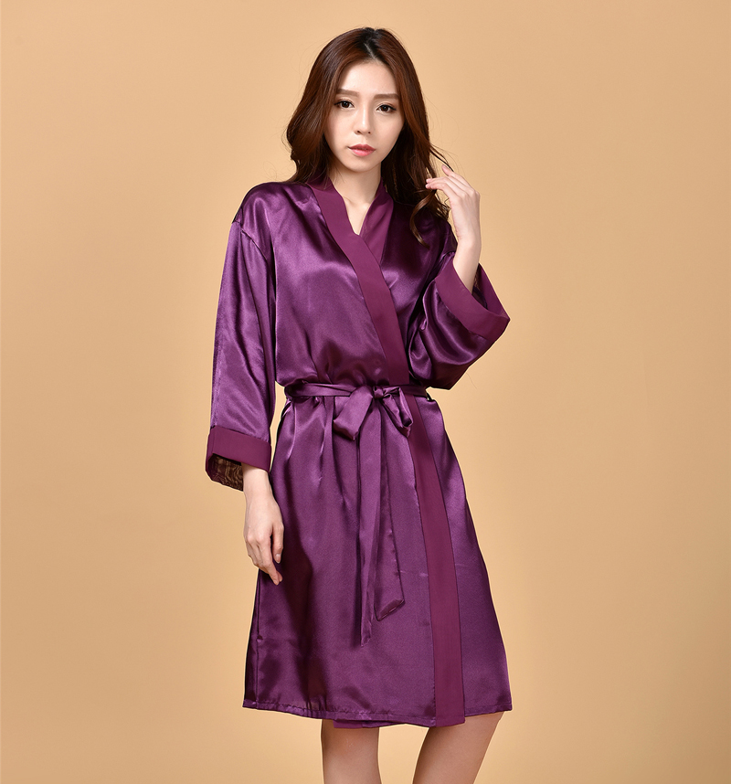 Sexy Charming Purple Summer Silk Chiffon Robes New Style Womens Kimono Bath Gown Lounge Nightgowns Sleepwear One Size NR223