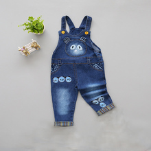 DIIMUU Infant Toddler Clothing Boys Girls Casual Denim Overalls Kids Spring Jeans Trousers Jumpsuits Cartoon Printing Bebe Pants baby bib overalls spring autumn boys girls suspender trousers infant pants denim jumpsuit jeans rompers toddler clothing