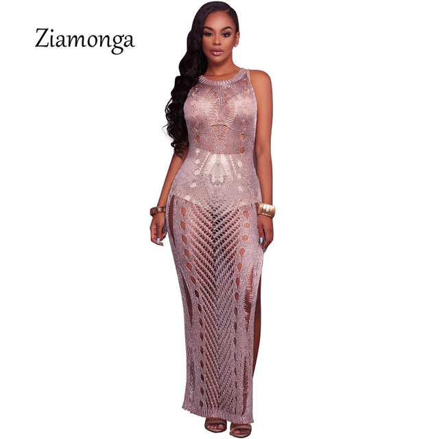 7978759ad50f Ziamonga Summer Hollow Out Crochet Knitted Dress Sexy Gold Purple Maxi  Beach Dress Women Sleeveless Split Sweater Long Dresses