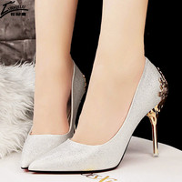 Sexy High Heels Shoes Woman Pumps Red Gold Silver High Heels Shoes Metal With Heels Luxury