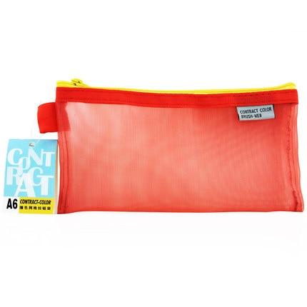 10 pcs/lot Colorful Mesh Bag A6 PVC Mesh Pen Case Pencil Bag Stationery Organizer Holder File Bill Bag Organizer Bill Holder