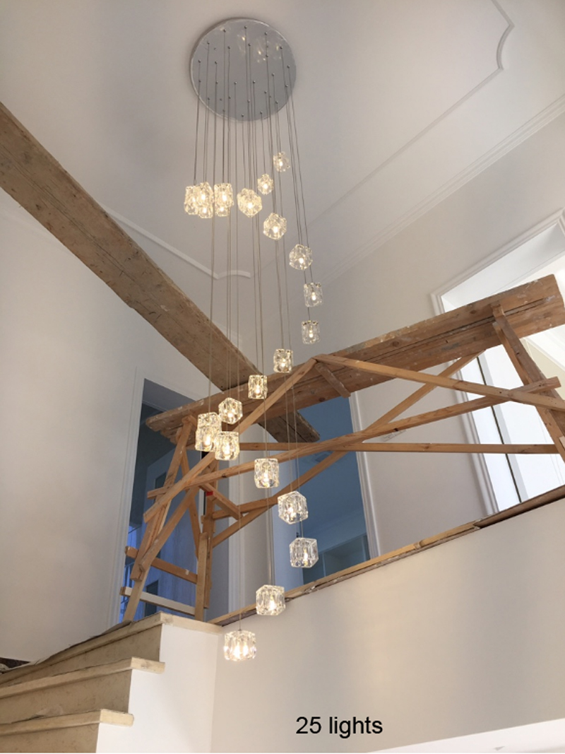 Lighting Basement Washroom Stairs: Long Led Cone Pendant Lights Double Stair Pendant Lamp