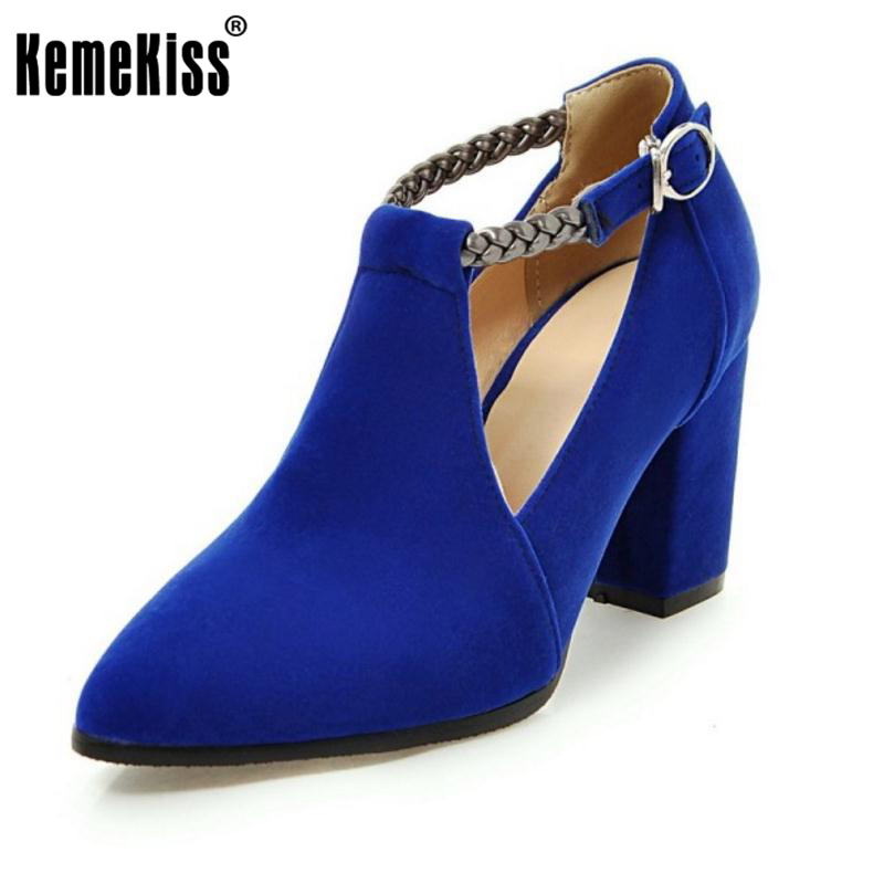 KemeKiss  Size 32-43 Ladies High Heel Shoes Women Ankle-Strap Pointed Toe Pumps Female Flock  Sexy Office Party Zapatillas Mujer plus size leather shoes women high heel sexy ankle strap wedding shoes woman pumps 9cm pointed toe party ladies shoes