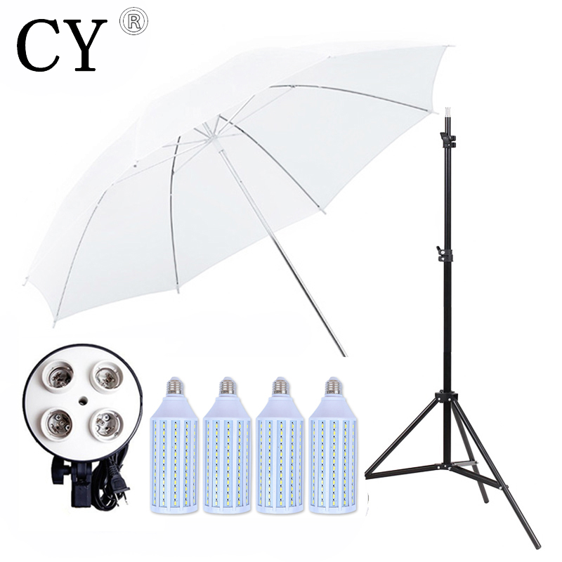 Photo Stand Kit 4pcs 40w LED Light 83CM Studio White Transparent Umbrella+4*E27 Socket+200cm Light stand Umbrella Lighting kits