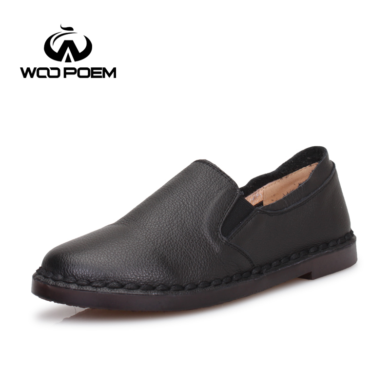 WooPoem Spring Autumn Shoes Women Breathable Cow Leather Shoes Comfortable Low Heel Flats Casual Sewing Lady Shoes 6517 woopoem spring autumn shoes women