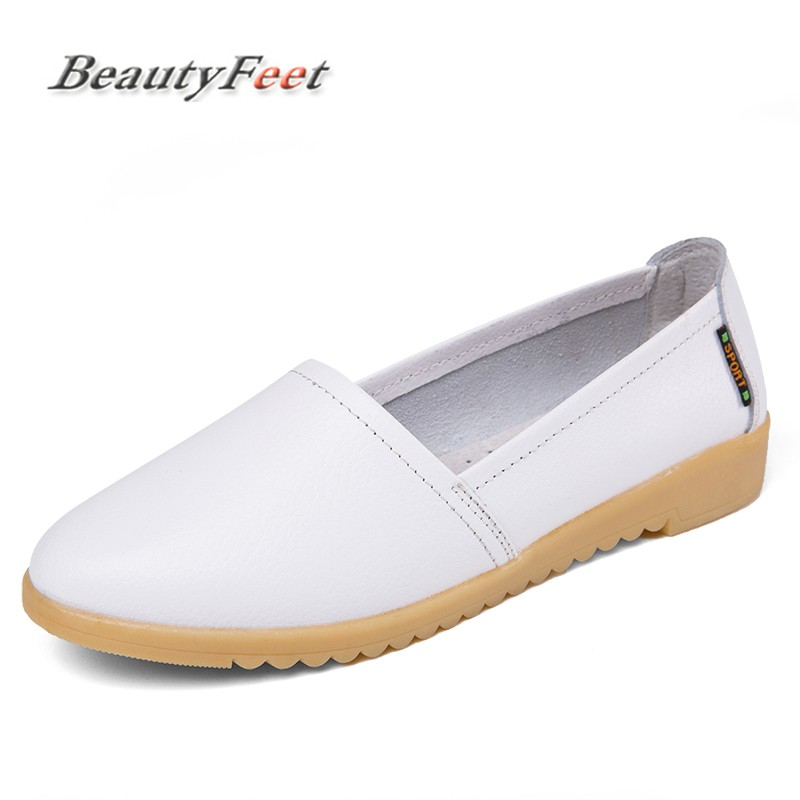 BeautyFeet 2018 New Women's Casual Shoes Soft Genuine Leather Female Flats Non-Slip Woman Loafers Leisure Slip-On Boat Shoes new style comfortable casual shoes men genuine leather shoes non slip flats handmade oxfords soft loafers luxury brand moccasins