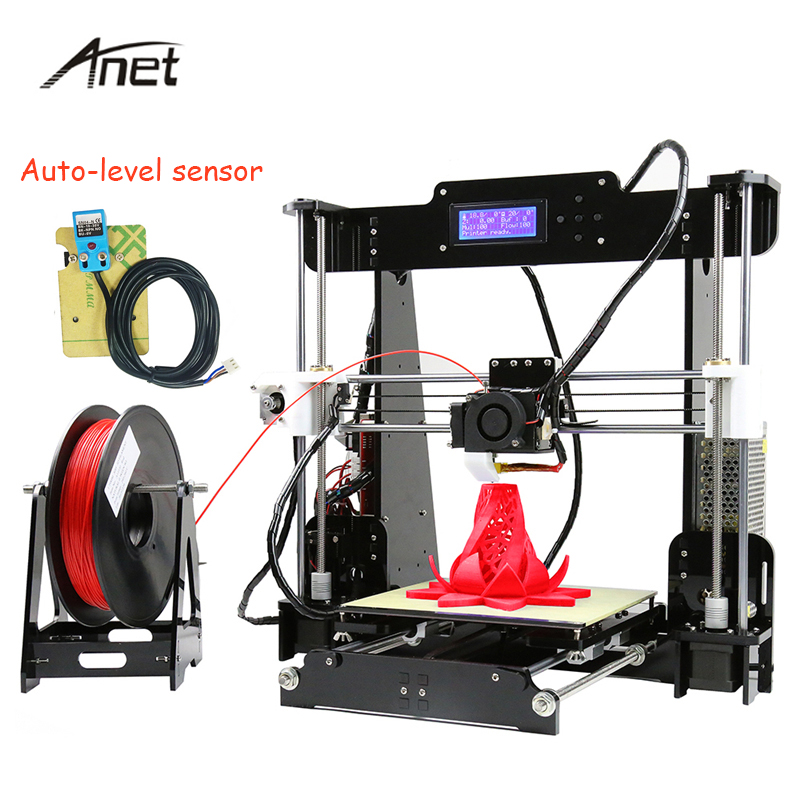 Anet Auto Leveling A8 Impresora 3D Printer DIY Kit Big Size Imprimante 3d Reprap i3 Aluminum Heatbed With Filament SD Card 2017 anet a8 3d printer high precision reprap impressora 3d printer kit diy large printing size with 1rolls filament 8gb sd card