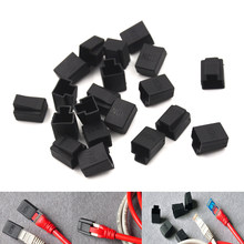 20pcs Zwart RJ45 Crystal Head Cover Netwerk Plug Anti Dust Protector Cover Cap(China)