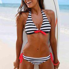 Low-waisted Bikini Push Up Bikinis Set Stripe Swimwear Women Sexy Swimsuit Female  Print Buquini Plus Size SwimmingSuit AA327 недорго, оригинальная цена