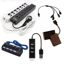 NEWHigh Quality Light Accessories Black 1 to 7 USB Port Building Blocks Parts Toys Fit For Led Kit 10220 10260 42083