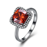 Ann & Snow New Fashion Flower Crystal Jewelry Red Big Zircon Rings For Women Wedding Vintage Black Gun Color Ring Gift R1129