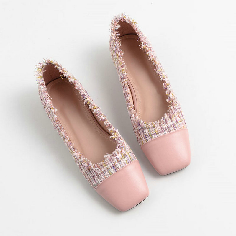 2019 Spring New Square Head Single Shoes Female Color Matching 2CM Low Heels Flats