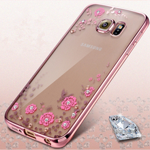 Luxury Soft TPU Rubber Flowers Diamond Lace Gilded Plating Secret Garden Case Cover For Samsung Galaxy S3 S4 S5 S6 S7 Edge Plus(China)