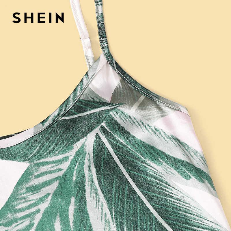 שיין צבעים טרופיים הדפסת Cami חיתוך למעלה מכנסיים סט סאטן פיג 'מה סט קיץ Nightwear הלבשת נשים סקסי פיג' מה סטים
