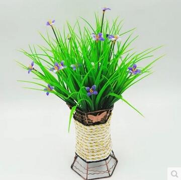 1pc Plastic Flower Artificial Green Grass Household Rustic Clover