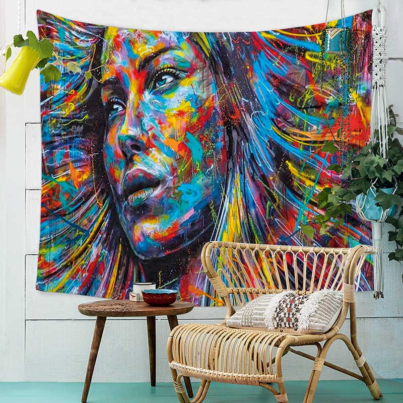 People Watercolor Painting Cloth Psychedelic Tapestry Wall Hanging Polyester Thin Couch Blanket Art Wall Carpets Yoga Shawl Mat in Decorative Tapestries from Home Garden