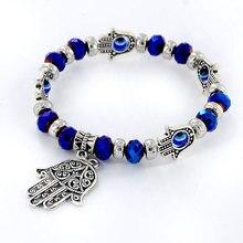 Модный черный браслет из бисера рука Фатимы четки оптом по низкой цене браслет Evil Eye для Для женщин пары Девочки Винтаж серебряный браслет шарма Femme WX2