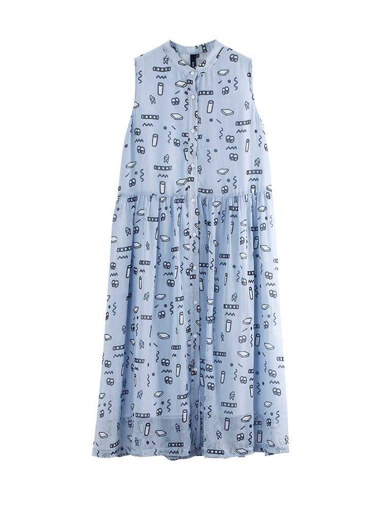 Toyouth элегантное богемное платье с цветочным принтом женское платье с воротником-стойкой с высокой талией летнее платье без рукавов шифоновое с Диной по щиколотку платье