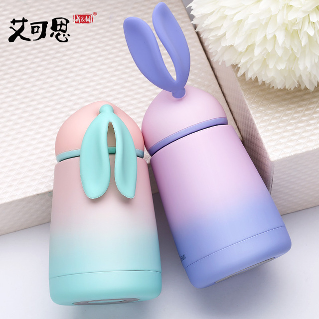 300ML Gradient Rabbit Children Feeding Cup Stainless Steel Milk Thermos Kids Hot Water Bottle Belly Leak-poof Travel Mug As Gift