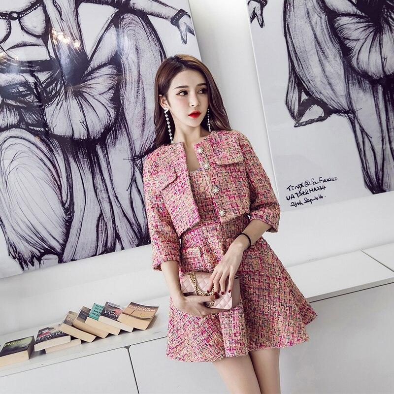 Printemps et automne femmes européennes et américaines nouvelles dames perlées tweed veste courte + laine gilet robe deux pièces/ensemble