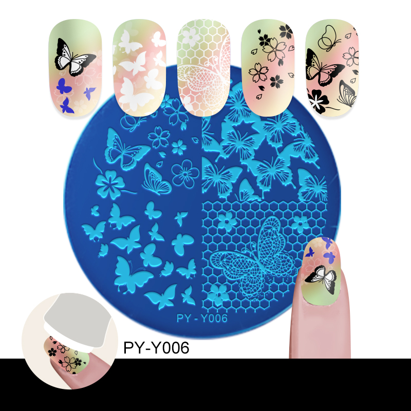PICT YOU Flowers Lace Grid Butterfly Nail Stamping Plates Flower Image Mixed Nail Art Natural 6cm 6cm Stencil Templates DIY in Nail Art Templates from Beauty Health