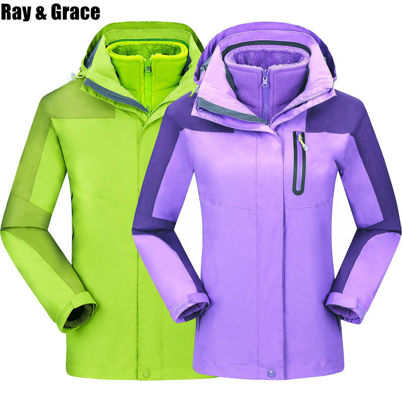 RAY GRACE Winter Men Outdoor Hiking Jacket Thermal Windbreaker Women Sports Hiking Camping Climbing Fishing Couple Coats