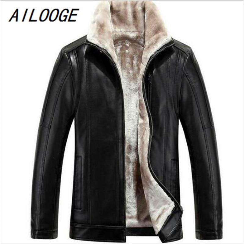 AILOOGE Jacket Coat Winter Casual New Velvet Business Bigger-Sizes HOT Men