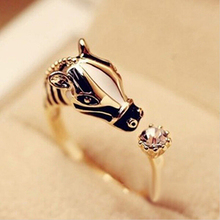Animal Fashion Rings Horse Head Crystal Women's Adjustable Ring Fashion Jewelry