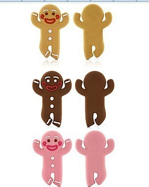 free shipping Cute The Gingerbread Man wrap cable wire tidy earphone winder Organizer holder for headphone MP3, MP4 Ipod