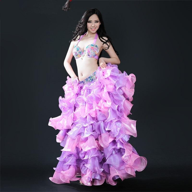 New bellydance big swing belly dance Indian skirt dance dance costume clothing clothes purple 3 pcs(bra+belt+skirt)