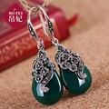 Известный бренд природный самоцветы 925 серебряные серьги цветы зеленый агат опал халцедон ретро женщины ювелирные изделия