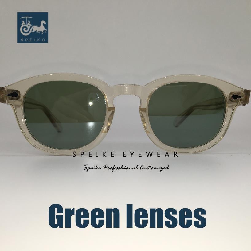 SPEIKE Customized Vintage Green Lenses Sunglasses Johnny Depp Lemtosh Style Retro Porlarized Glasses Can Be Myopia Sunglasses