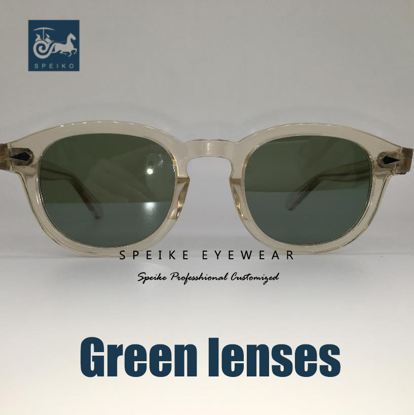 SPEIKE personnalisé vintage vert lentilles lunettes de soleil Johnny Depp Lemtosh style rétro porlarized lunettes peuvent être myopie lunettes de soleil