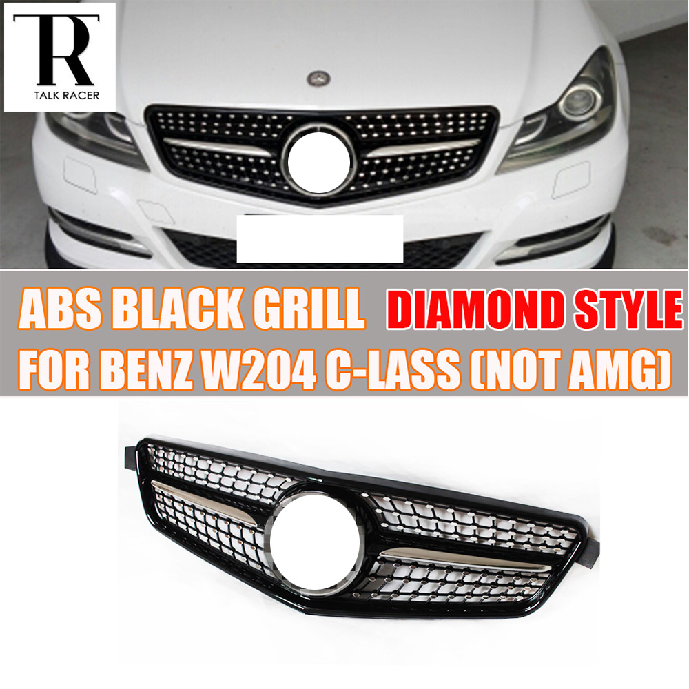 w204 black abs diamond style front bumper grill grille for. Black Bedroom Furniture Sets. Home Design Ideas
