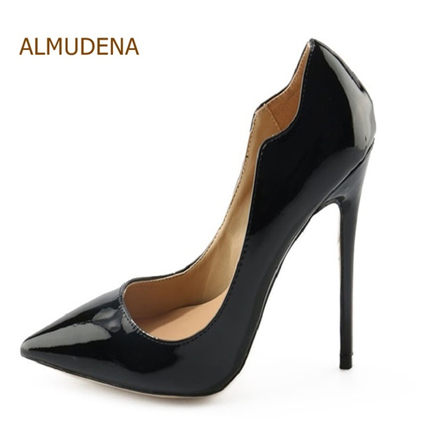 ALMUDENA Fashionable Black Patent Leather Women Pumps Unique Design Hot  Selling Stiletto Heels Pointed Toe Special Cut Shoes 56fb45abae09