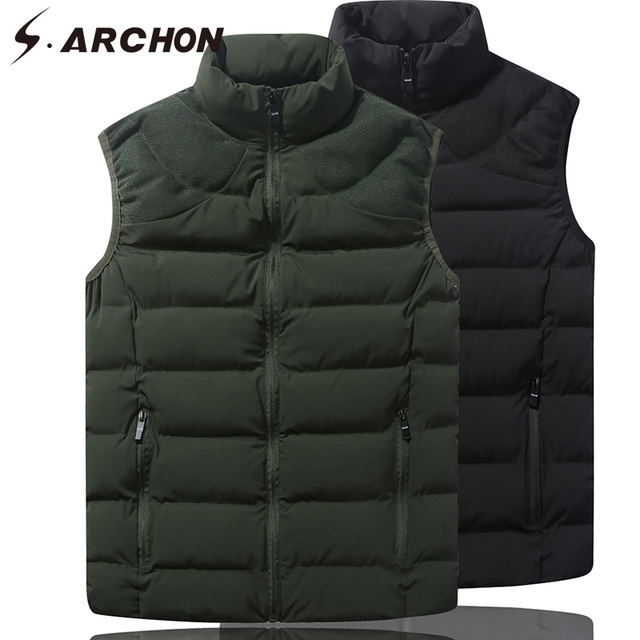 S.ARCHON Casual Warm Tactical Vest Men Military Hoodie Casual Street Vest Winter Sleeveless Photography Cotton Waistcoats
