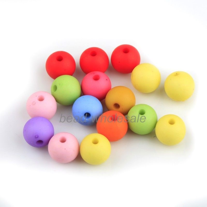 25pcs Acrylic Round Loose Spacer Beads Mixed Color Bead for DIY Jewelry Making Bracelet 10mm Kids Jewelry Findings Accessories
