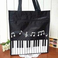 Women Big Causal Totes Cloth Shoulder Bags Shopping Piano Pattern Handbags Notes Printed 2017 Zipper New